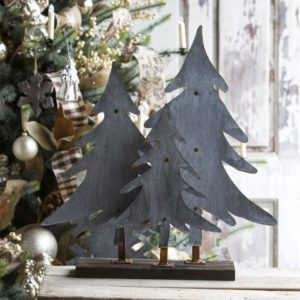 Aged Tin Trees On Wooden Stand