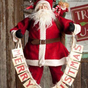 Large Vintaged Santa With Card     Garland and Tinsel Tree