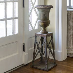 Aged Metal Parlor Urn With Stand (set of 2)
