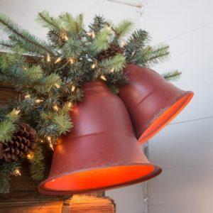 Vintage Style Red Mtl Bell Light Lg