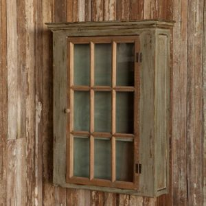 Old Paint Window Pane Cabinet