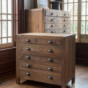 Old Pine Map Drawer Side Table