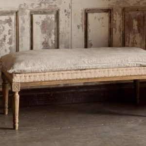 Burlap And Distressed Pillow Bench