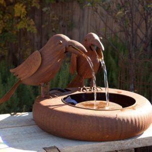 Folk Art Crows Fountain