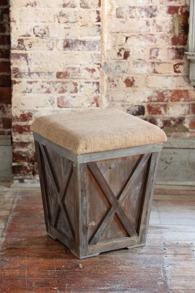 Pleasant Town Country Stool W Burlap Cush Beatyapartments Chair Design Images Beatyapartmentscom
