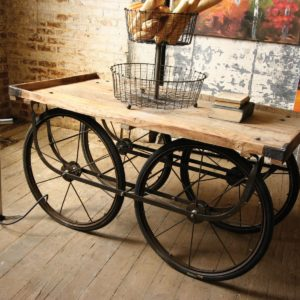 Recycled Wood & Iron Rolling Vendor Cart with Bicycle Tire Pump