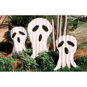 Set Of 3 Corrugated Ghosts Yard Art - (Includes 2)
