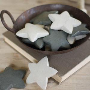 Set Of Six Hand Carved Stone Stars - Light Grey