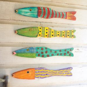 Set Of 4 Recycled Wood Folk Art Fish