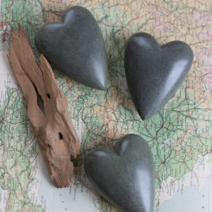 Set Of Six Hand Carved Stone Hearts-Dark Grey