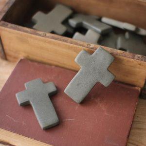 Set Of Six Hand Carved Stone Crosses - Dark Grey