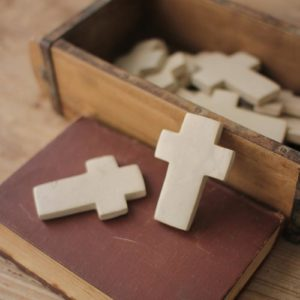 Set Of Six Hand Carved Stone Crosses - Light Grey