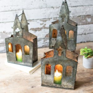 Recycled Metal Church Luminary - (Includes 6 Boxes with 6 items in each Box)
