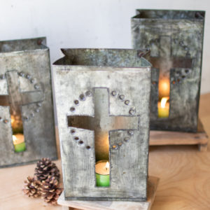 Recycled Metal Cross Luminary - (Includes 6 Boxes with 6 items in each Box)