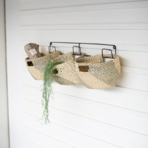 Set/3 Hanging Woven Seagrass Baskets On Recyc Metal Frame