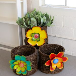 Set Of Three Root Baskets With Painted Metal Flower Detail