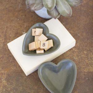 Carved Stone Heart Bowl - Dark Grey