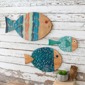 Set Of Three Painted Wooden Fish Wall Hangings