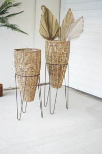 Set Of Two Seagrass Cone Planters With Iron Stands