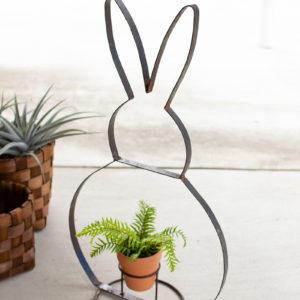 Recycled Metal Rabbit Planter