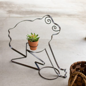 Recycled Metal Frog Planter