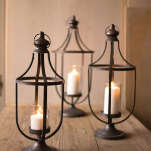 Set Of Three Metal Lanterns With Glass Insert