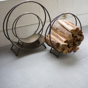 Set Of Three Metal Firewood Racks