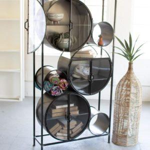Iron And Glass Circles Shelving Unit