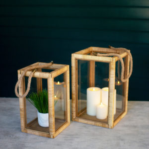 Set Of Two Rectangle Rattan And Glass Lanterns