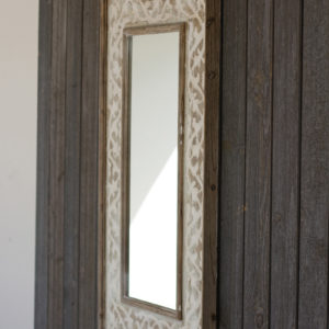 Wooden Framed Mirror With Fluer De Lis Detail