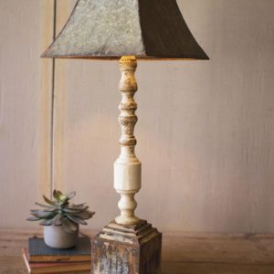 Tall Turned Banister Lamp With Metal Shade