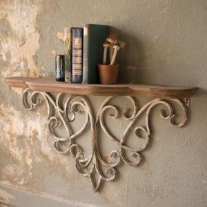 Wood Top Shelf With Metal Filigree Detail