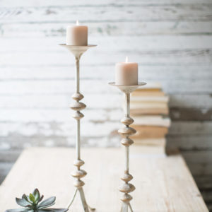 Set Of Two Painted Metal Candle Towers