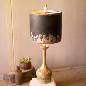 Table Lamp - Round Wooden Base W Black & Gold Metal Shade
