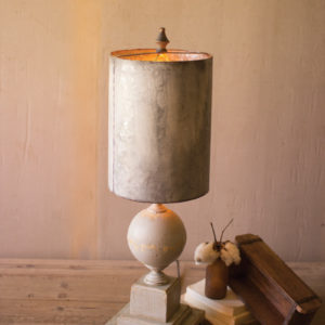Table Lamp - Wood And Metal Base With Tall Metal Shade