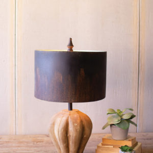 Table Lamp With Natural Wooden Base & Dark Metal Barrel Shade