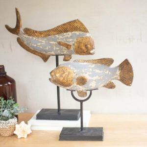 Set Of Two Painted Resin Fish On Stands