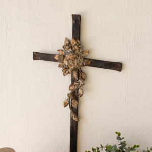 Metal Wall Cross With Flower Detail