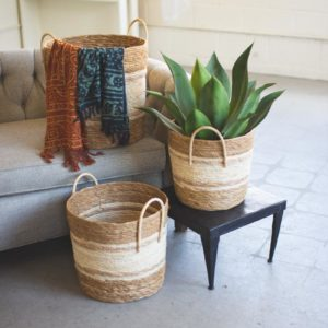 Set Of Three Round Baskets - Two Toned Natural