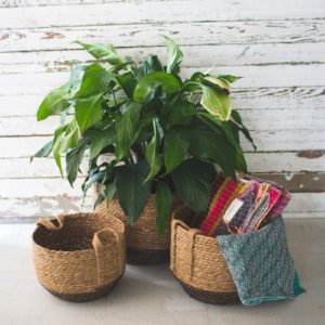 Set Of Three Round Baskets With Jute Handles