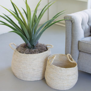 Set Of Two Round Seagrass Baskets With Handles