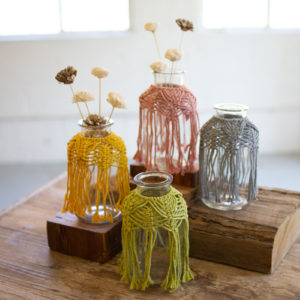 Set Of Four Glass Bud Vases With Cotton Macrame Collars
