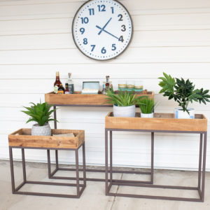 Set Of Three Rustic Recycled Wood Console Trays On Metal Bases