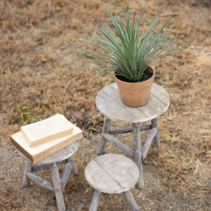 Set Of Three Recycled Wooden Display Stools