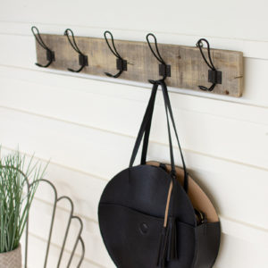 Recycled Wooden Coat Rack With Five Metal Hooks - (Includes 2)
