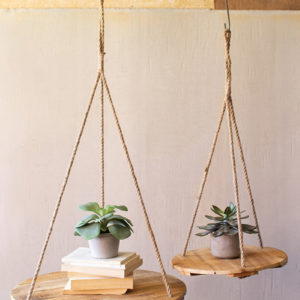 Set Of Two Round Recycled Wood Display With Jute Rope