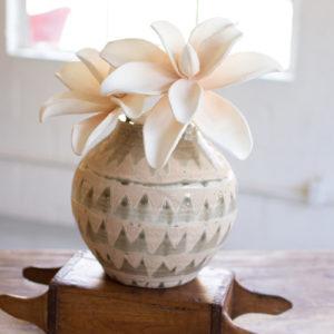 Ceramic Triangle Pattern Vases - Olive