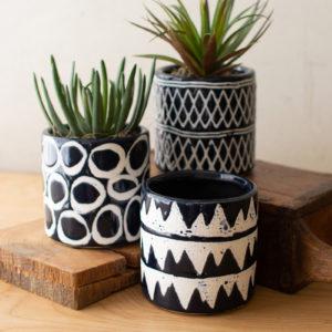 Set Of Three Navy Ceramic Pattern Planters