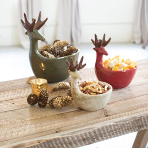 Set Of Three Ceramic Deer Bowls-One Each Color