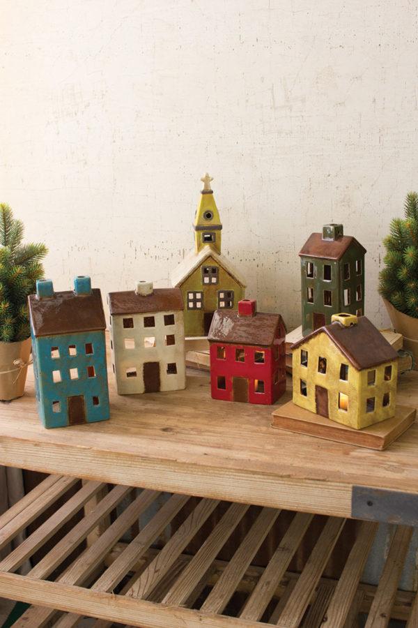Set Of Six Ceramic Village-One Each Design